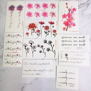 New! Flowers Temporary Tattoo Stickers Set Pink